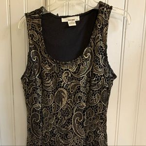Midi Black and Gold Lace Dress